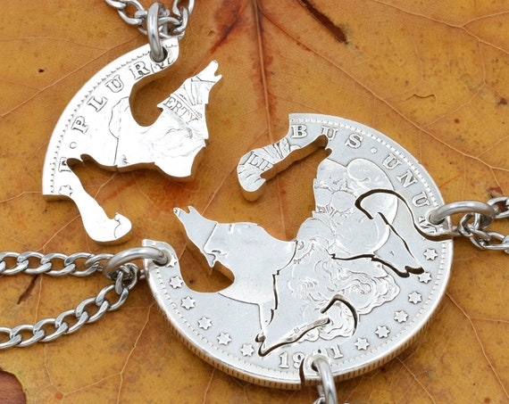 4 Piece Wolves Necklace, BFF Gifts, Best Friends Jewelry, Family Necklace, Hand Cut Coin