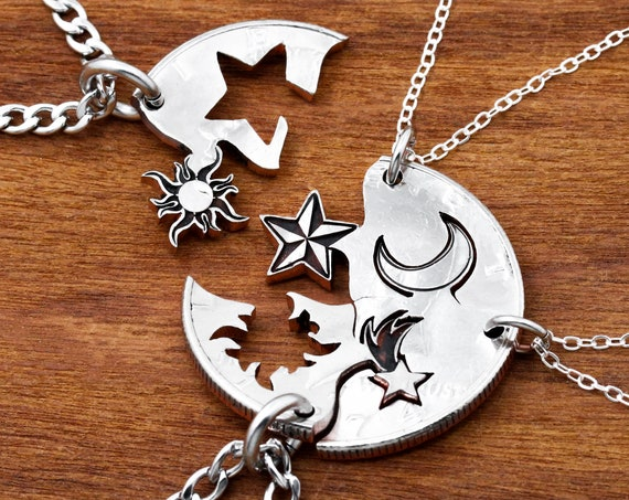 4 Best Friends Necklaces, Astronomy Gifts, Sun Star Moon and Shooting Star, Hand Cut Coin