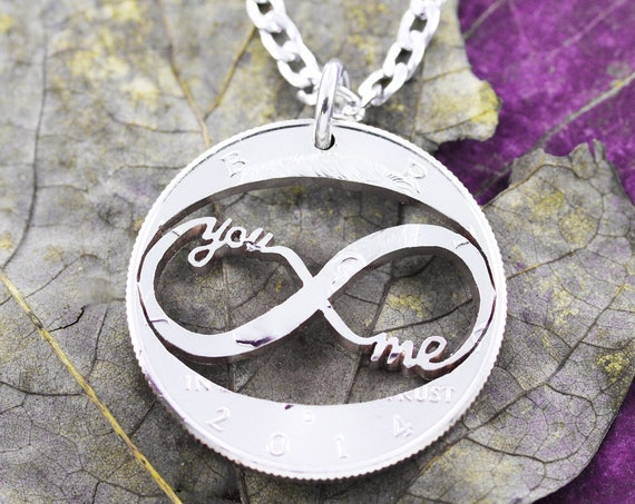 You and Me Infinity Necklace, Love Jewelry, Gifts for Girlfriend or Boyfriend, Hand Cut Coin