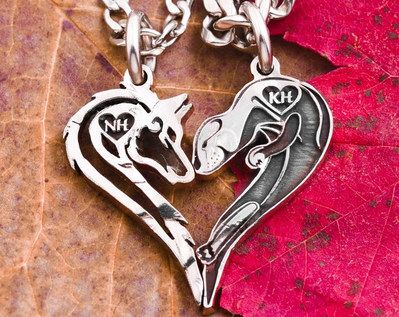 Wolf and Otter Couples Necklaces, Animal Heart, Custom Initials, Couples Gifts, Relationship Jewelry, Hand Cut Coin