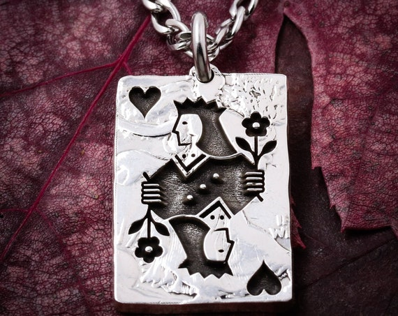 Playing Card Necklace, Queen Of Hearts, Choose any of 53 Cards, Clubs, Diamonds, Hearts, Spades, Ace, King, Queen, Jack, Joker, HandCut Coin