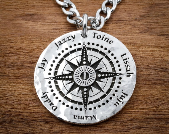 Personalized Compass Necklace, Family of 7, 5 Children, Daddy Mommy Gift, Engraved Real Silver Coin, Custom Names and Initial
