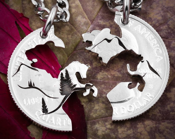 Bear and Horse Necklaces for 2, Mountain Couples Jewelry, Best Friend Nature Lovers Gifts, Interlocking hand cut coin