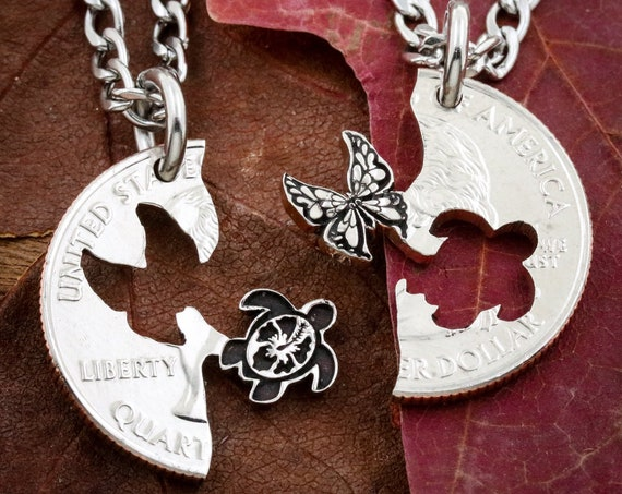 Sea Turtle Butterfly Necklaces, Intricate Best Friends Jewelry, BFF Gifts for 2, Relationship Puzzle Set, Hand Cut Coin