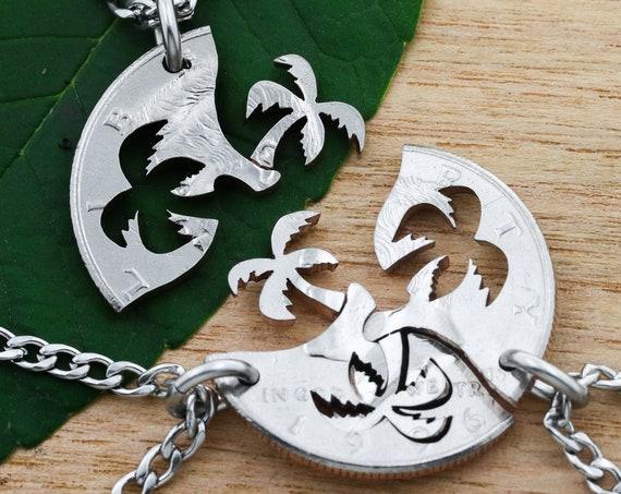 3 Piece Palm Tree Necklaces, Three Piece Interlocking Beach Jewelry, Three Palm Trees, BFF Gifts, Ocean Palms, Hand Cut Coin