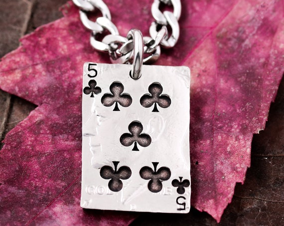Playing Card Necklace, Choose any of 53 Cards, Clubs, Diamonds, Hearts, Spades, Ace, King, Queen, Jack, Joker options, Cut and Engraved Coin