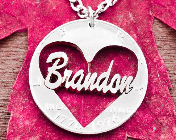 Personalized Name Heart Necklace, Gifts for Girlfriend or Boyfriend, Love Heart Name Jewelry, Hand Cut Coin