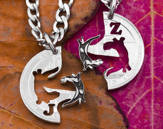 Swimming Otters with Initials Necklace, Best Friends and Couples Necklaces, Interlocking Animals, Hand Cut Coin