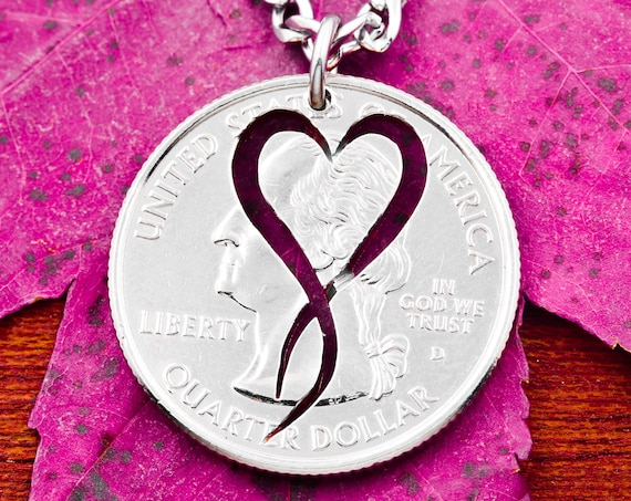 Heart Symbol Ribbon Necklace, Girls Jewelry, Hand Cut Coin