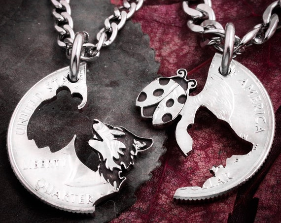 Lady Bug and Wolf, Best Friends Necklaces, Wolf Jewelry, Bff Gifts, Friendship and Relationships, Hand Cut Coin