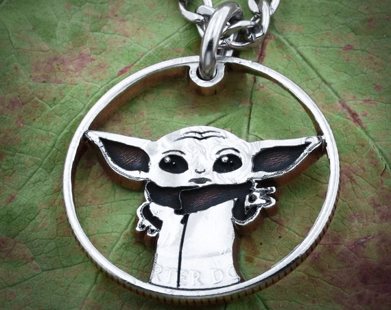 The Child Necklace, Baby Alien Pendant, Engraved Baby Yo da,  Hand Cut Coin