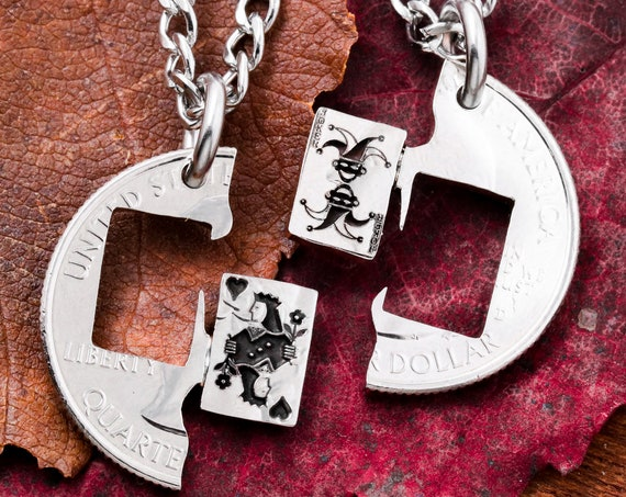 Playing Card Necklaces, Joker and Queen, Best Friends Jewelry, Couples Gifts, Queen of Hearts, Hand Cut Coin