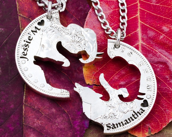 Elephant and Wolf BFF Necklaces, Custom Engraved Names, Friendship Gifts, Interlocking Like a Puzzle Jewelry Set, Hand Cut Coin