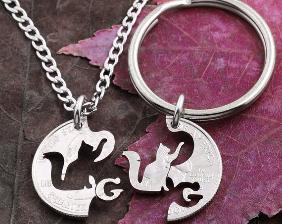 Personalized Cat Best Friend Collar and Necklace, Custom Initial, Owner and Pet Gift, Cat Collar, Pet Lover, Hand Cut Coin