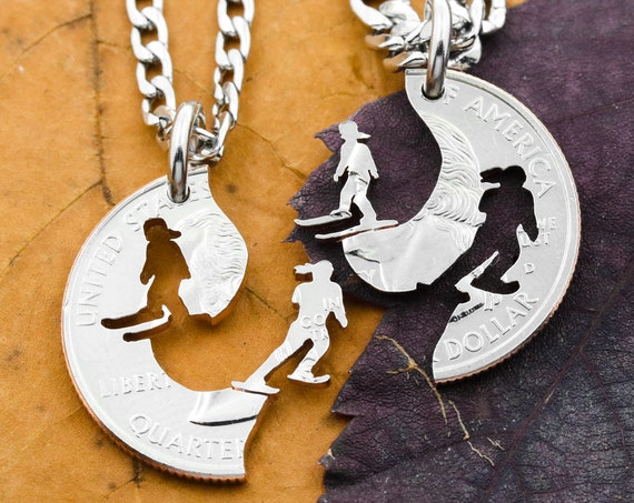 Cross Country Skiers Best Friend Necklaces, Women's and Girl's Ski Jewelry, Interlocking Hand Cut Coin