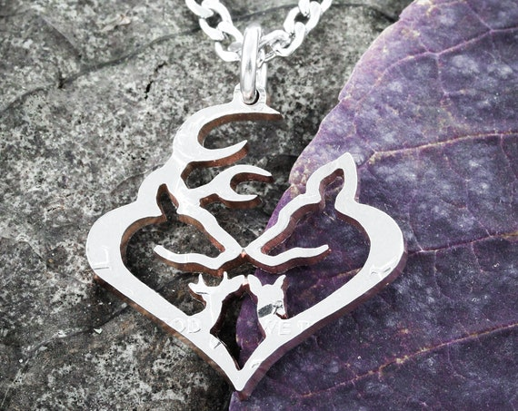 Buck and Doe Family Necklace, Heart and Family, Spike and Fawn, Deer Jewelry, Hand Cut Coin