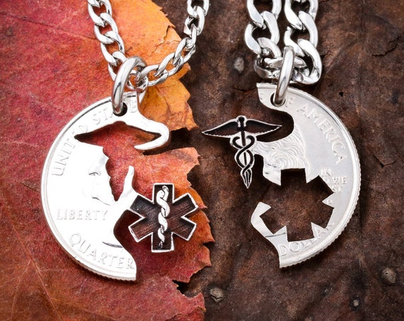 EMT Nurse Medical Necklaces for Couples and Best Friends, BFF Gifts for 2, Healthcare Professionals gift