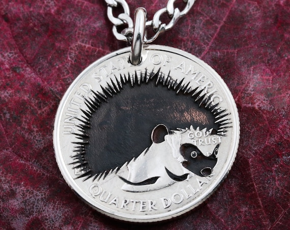 Hedgehog Engraved Necklace, Made from a Dime, Quarter, Half Dollar, or Silver Dollar