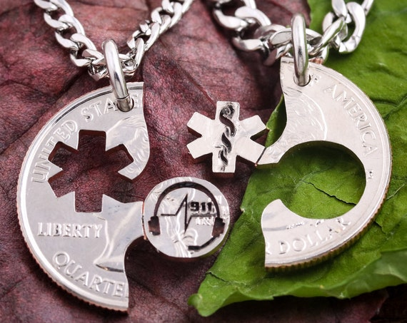 911 Dispatcher and EMT Paramedic Necklaces, Medical Worker Gift, BFF or Couples You Can Count on Us Jewelry, Hand Cut Coin