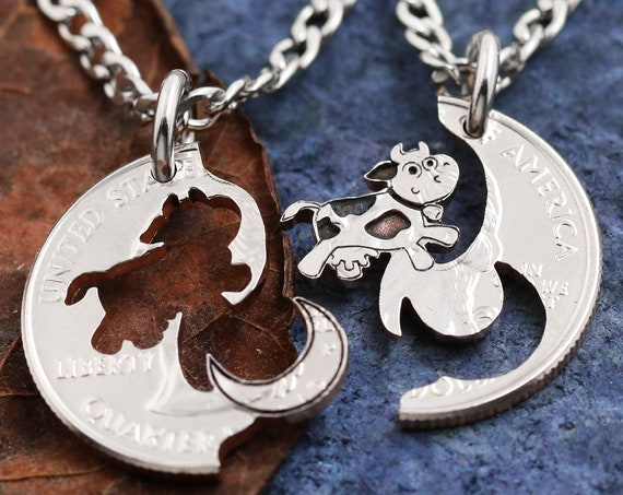Cow Jumped over the Moon Necklaces for 2, Best Friends or Couples Gifts, BFF, Interlocking hand cut coin