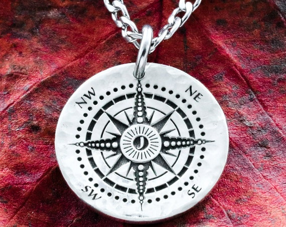 Silver Compass Initial Necklace, Your Personal Initial Etched in the Middle