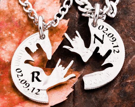ASL Hands Necklaces, Personalized Dates and Initials, Best Friends Jewelry, Custom Engraving, Hand Cut Coin