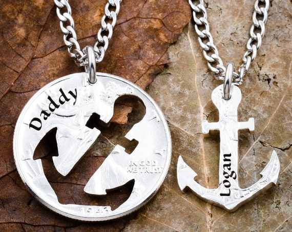 Custom Names Anchor Necklaces, Inside and outside pieces, Father and son, BFF, Relationship Jewelry hand cut coin