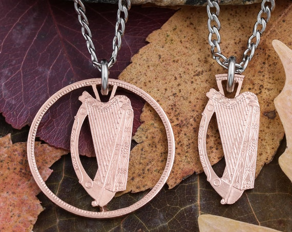 Irish Penny, Harp Necklace, Limited Quantity Item, Special Price, Hand Cut Coin