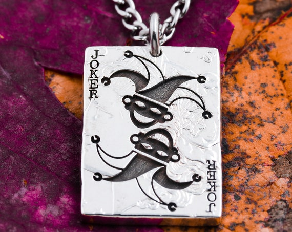 Joker Playing Card Necklace, Choose any of 53 Cards, Clubs, Diamonds, Hearts, Spades, Ace, King, Queen, Jack, Joker, HandCut Coin