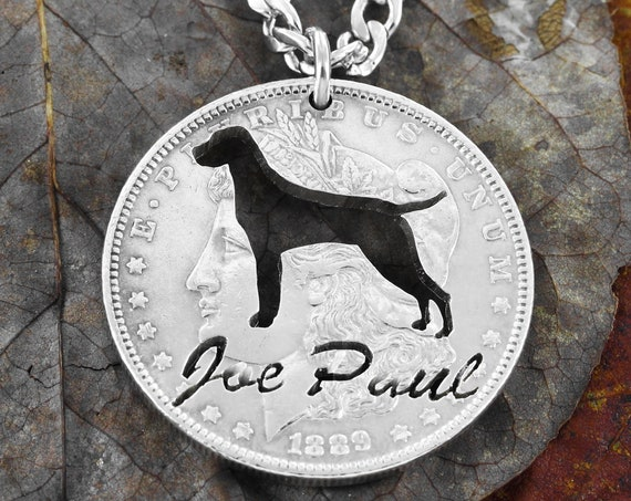 Personalized Pet Name Necklace, Custom Pet, Dog Lover Gift, Pet Loss, Dog Memorial Jewelry, Hand Cut Coin