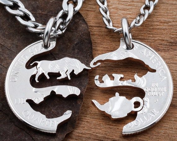 Bull in a China Shop Couples Necklaces, Relationship or Best Friend Necklaces