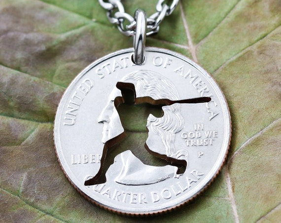 Baseball Batter Necklace, Hand Cut Coin Jewelry