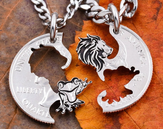Lion and Frog Best Friend Necklaces, Hand Cut Coin