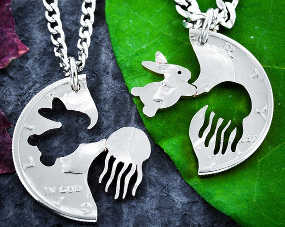 Bunny and Jellyfish Necklaces, Best Friends or Couples Jewelry, Rabbit and Jellyfish, Interlocking Hand Cut Coin
