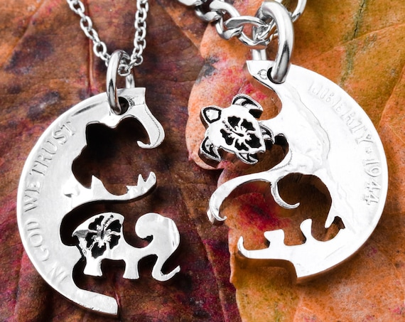 Sea Turtle and Elephant Best Friends Necklaces, Engraved Hibiscus Flowers, BFF Gifts, Relationship Puzzle Set, Hand Cut Coin