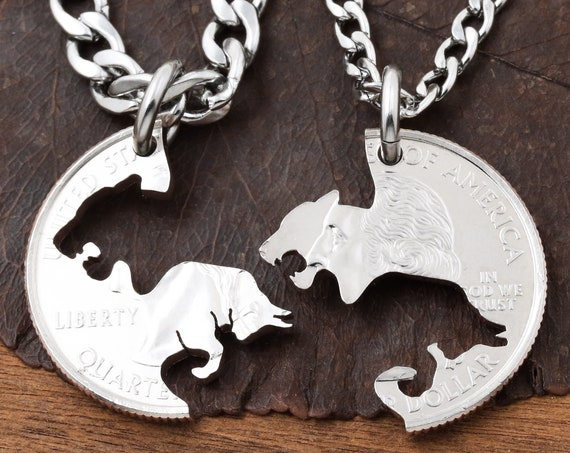 Bull and Lioness Couples Necklaces, Relationship Jewelry, His and Hers, Boyfriend and Girlfriend gift, Hand Cut Coin