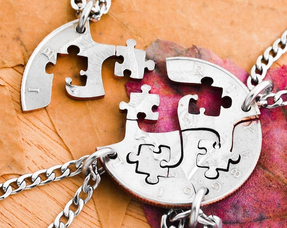 4 Puzzle Pieces, Best Friend Necklaces, Friends and Family Jewelry, Hand Cut Coin