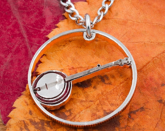 Banjo Necklace, Musical Jewelry, Hand Cut Coin