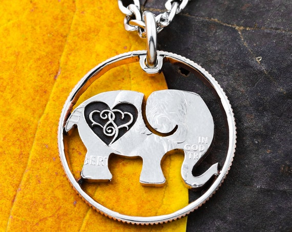 Elephant Necklace, Engraved Infinity Hearts, Hand Cut and Engraved Coin