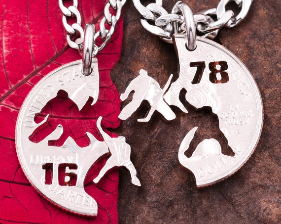 Hockey Best Friend Necklaces, Personalized Jersey Numbers, Hockey Player, Goalie Necklace, Ice Hockey Jewelry, Hand Cut Coin