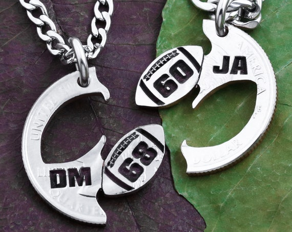 Personalized Jersey Numbers Football Best Friends Jewelry, Custom Initials, Athlete Gift, BFF and Friendship, High School, Hand Cut Coin