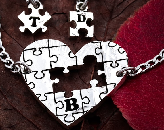 3 Puzzle Heart Necklaces, 3 Pendants with Initials, Puzzle Pieces Cut From A Heart, Three BFF Gifts, Personalized Cut Coin