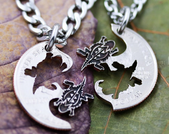 Horny Toad Necklaces, or Horned Lizard, Best friend Jewelry, Interlocking Set, Hand Cut and Engraved Coin