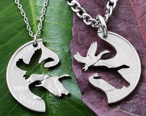 Birds Couples Necklace Set,  Relationship BFF Gift, Interlocking hand cut coin