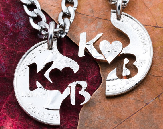 Couples Split Necklaces, Custom Interlocking Initials, Bespoke Anniversary Jewelry, Heart Relationship Set, Hand Cut Coin