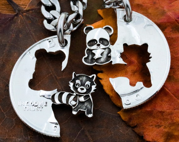 Bespoke Panda and Red Panda Couples or Friendship Necklaces, Best friends and BFF Gifts, Hand Cut and engraved Coin