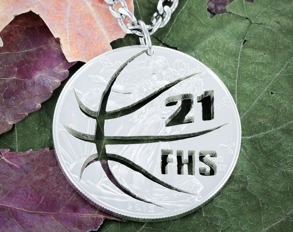 Custom Basketball Necklace with Your Jersey Number and Custom Initials, Hand Cut Coin