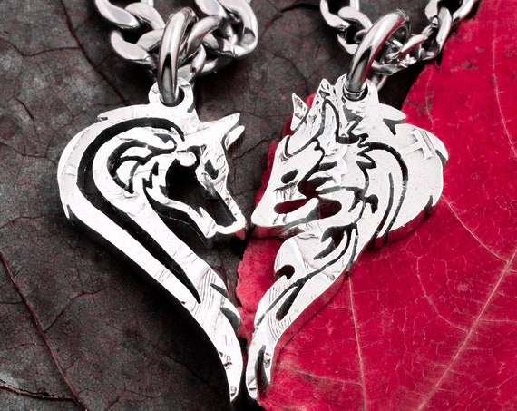 His and Her Wolf Pendants for couples, Two Wolves making a Heart, Men and women, Relationship Jewelry, Half Dollar, hand cut coin