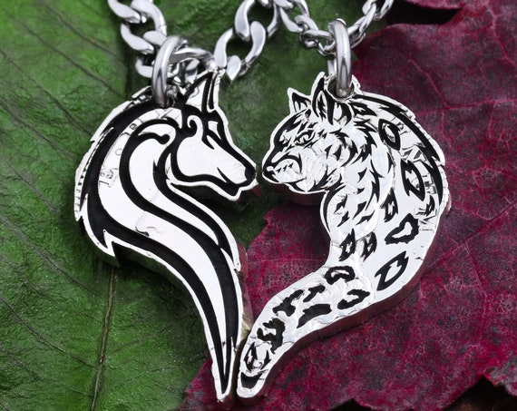 Wolf and Leopard Couples Necklaces, Heart Jewelry, Relationship Gift, hand cut coin