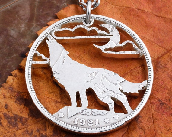 Wolf Jewelry, Howling Wolf Necklace, Wolf on Cliff, Moon and Clouds, Hand Cut Coin